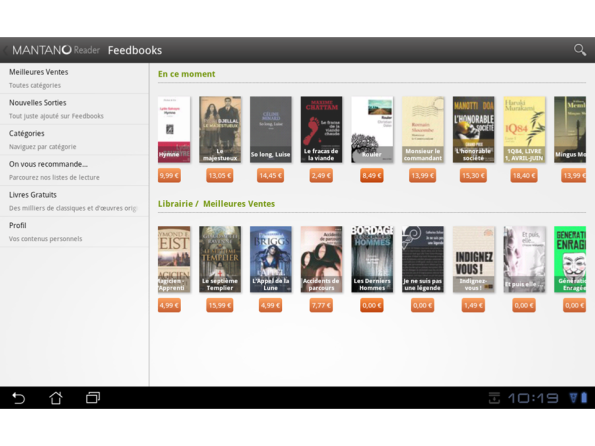 Mantano Reader displaying featured content on Feedbooks